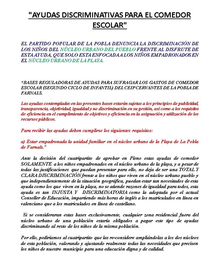 AYUDAS DISCRIMINATIVAS PARA EL COMEDOR ESCOLAR
