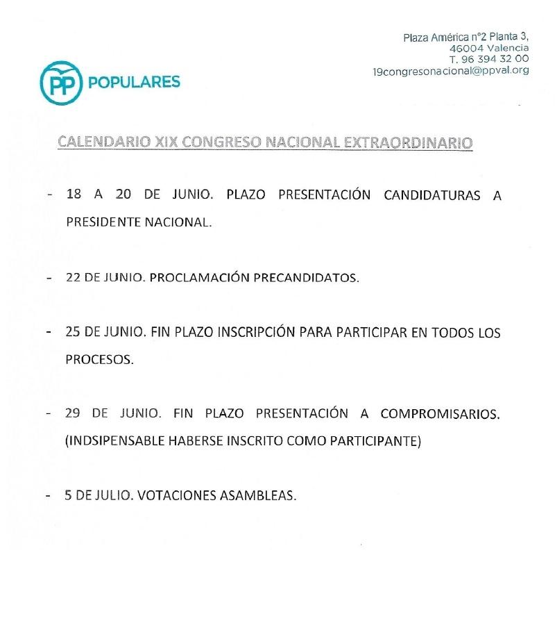 Reglamento para el XIX Congreso Nacional Extraordinario del Partido Popular