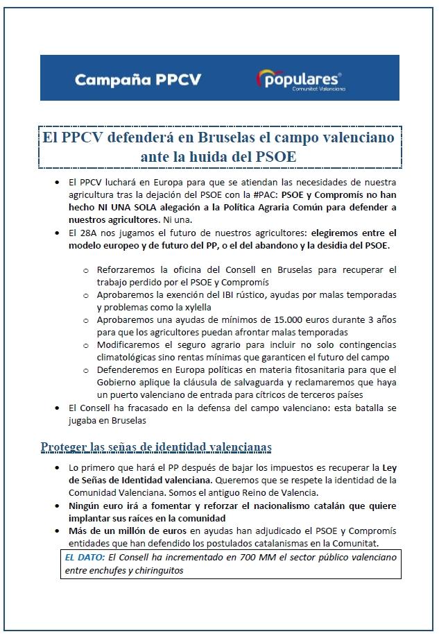 El PPCV defenderá en Bruselas el campo valenciano ante la huida del PSOE